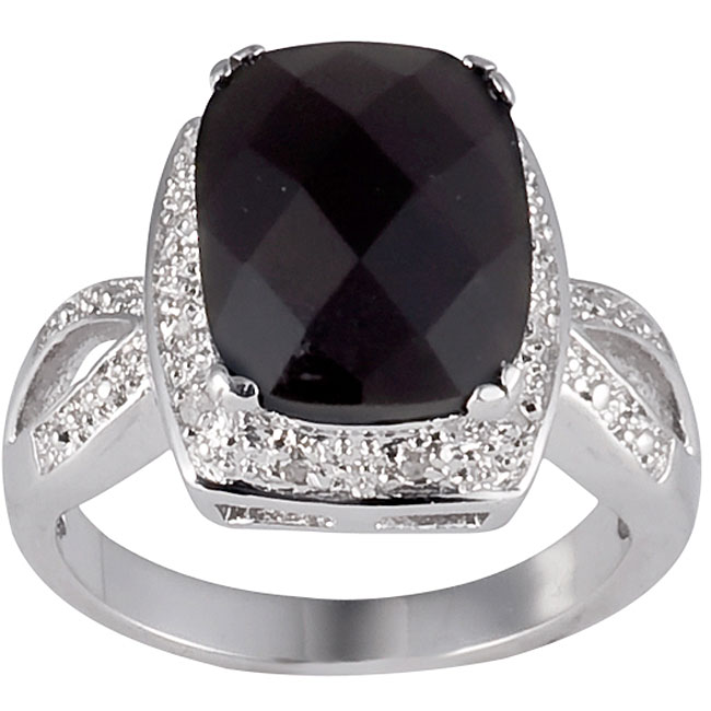 Sterling Silver Onyx and 1/10ct TDW Diamond Ring (J-K, I2-I3)