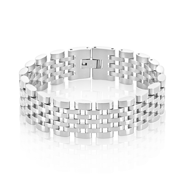 Crucible Men's Polished Stainless Steel Brick Link Bracelet - 8 inches (18mm Wide)