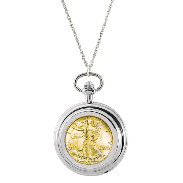 American Coin Treasures Gold-layered Silver Walking Liberty Half Dollar Pocket Watch Pendant Necklace